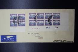 South Africa:  Corner Strip Of 8 Incl Printer Marks And 4-block To Toronto Canada Air Mail 1950 - Briefe U. Dokumente