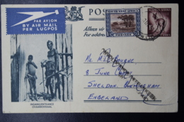 South West Africa:  Postcard Nr 48 Uprated ONVOLDOENDE GEFRANKEERD Cancel Airmail18-12-1955 Windhoek -> Birmingham - Südwestafrika (1923-1990)