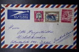 South West Africa: Airmail Cover Windhoek-> Germany  Saar Mixed Stamps Official + Normal  1939 - Südwestafrika (1923-1990)