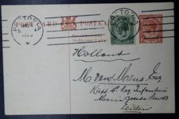 South Africa: Postcard P7  Pretoria To Leiden Holland   24-1-1923 Uprated - Briefe U. Dokumente