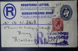 South Africa: Registered Cover Kaapstad  11-1-1924  HG 5 Uprated - Briefe U. Dokumente