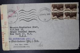 South Africa: Censored CoverJohannesburg -> New York 23-6-1944  Sg 102 - Briefe U. Dokumente