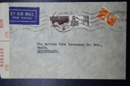 South Africa: Censored Durban  -> Switserland  Sg 104 - 102 - Zuid-Afrika (...-1961)