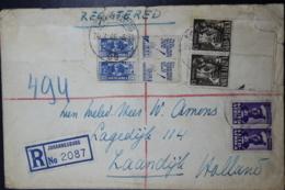 South Africa: Registered Cover Johannesburg -> Zaandijk  Holland  Sg 3 X Pair 1 X Advertisment Labels - Briefe U. Dokumente