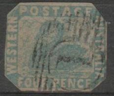 WESTERN AUSTRALIA - 1854  4d Blue Swan. Cut To Shape. Scott 3. Used - Oblitérés