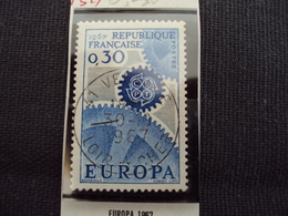 """60-69- Timbre Oblitéré N° 1521   """" Europa Bleu 0.30    """"  0.25 - Oblitérés"""