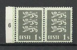 ESTLAND Estonia 1940 Michel 164 W In Pair MNH Variety Abart Green Protactive Network Grün Netzunterdruck - Estland