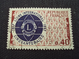 """60-69- Timbre Oblitéré N°1534    """" 50 Ans Des Lions Clubs 1967   """"  0.20 - Francia"""