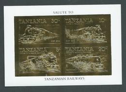 Tanzania 1985 Trains Gold Stamp Miniature Sheet Imperforate 22 Carat Gold Foil Self Adhesive Stamps MNH - Tanzania (1964-...)