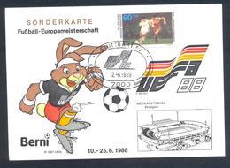 Germany 1988 Maximum Card; Football Soccer Fussball Calcio; UEFA EURO 1988; Neckarstadion Stuttgart - Fußball-Europameisterschaft (UEFA)