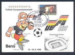 Germany 1988 Maximum Card; Football Soccer Fussball Calcio; UEFA EURO 1988; Müngersdorfer Stadion Köln - Fußball-Europameisterschaft (UEFA)