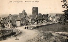 19. CPA. ALLASSAC. Avenue Des Trois Villages.  Hotel Des Voyageurs, Tour. - Autres Communes