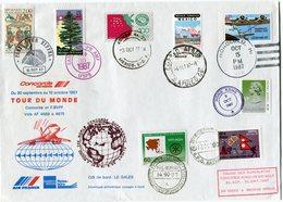 ENVELOPPE CONCORDE TOUR DU MONDE DU 30 SEPTEMBRE AU 16 OCTOBRE 1987 - Concorde