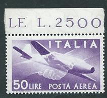 Italia 1957; Posta Aerea, Democratica Lire 50 Filigrana Stelle, Con Bordo Nuovo. - 6. 1946-.. Repubblica