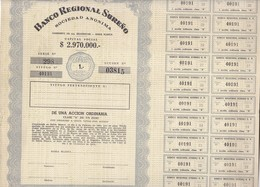 BANCO REGIONAL SUREÑO SA-AÑO 1961 BAHIA BLANCA CLASE A CAPITAL $2.970.000 ACCION ACTION - BLEUP - Banca & Assicurazione