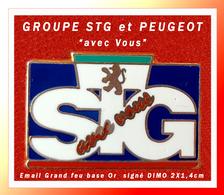 """SUPER PIN'S PEUGEOT : GROUPE STG Partenaire PEUGEOT """"avec Vous"""" Signé DIMO (Besançon) Format 2X1,4cm (Peu Courant) - Peugeot"""