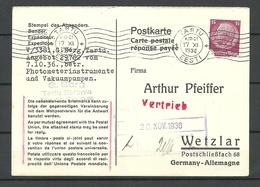 Estland Estonia 1936 Postal Card Response Part Postkarte Antwortteil Response Payee Tartu Nach Wetzlar - Estonie