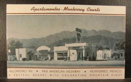 1940s MONTERREY NUEVO LEON MEXICO Resort View PC- Apartamentos Monterrey Courts & PEMEX Gasoline Station - Hotels & Restaurants