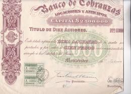 BANCO DE COBRANZAS LOCACIONES Y ANTICIPOS DIEZ ACCIONES AÑO 1919 URUGUAY ACCION ACTION - BLEUP - Banque & Assurance