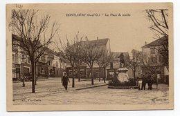 MONTLHERY--1937--Place Du Marché (petite Animation ,monument )-- Timbre --cachet ...pas Très Courante - Montlhery