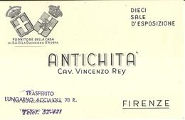 """3059 """" ANTICHITA' CAV. VINCENZO REY-FIRENZE """" BIGLIETTO ORIGINALE - Cartoncini Da Visita"""