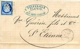 3857 - 25 Centimes Ceres Sur LAC 1875 Cachet GC 4096 Les Vans Ardeche Cachet DELEYROLLE FILATEUR - 1849-1876: Période Classique