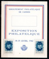 FJ7035 / Dept 06 (Alpes Maritimes) CANNES 1942 > Expo Philatelique Vignette Petain (4 CP) - Commemorative Labels