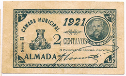 ALMADA- CÉDULA DE 2 CENTAVOS DA CÂMARA MUNICIPAL DE ALMADA. - Portugal