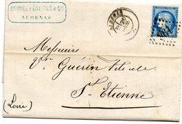 3860 - 25 Centimes 60A Ceres  Sur LAC 1872 Cachet GC 198  Aubenas  Cachet Brunel Pere Fils - 1849-1876: Classic Period