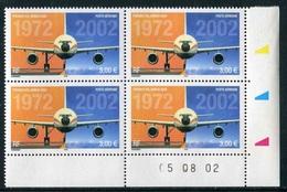 """Bloc De 4 Timbres** De 2002  """"3,00 € - PREMIER VOL AIRBUS A300""""  Avec  Date  05.08.02 (et Bobst) - Luchtpost"""