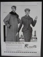 ORIGINAL 1955 MAGAZINE ADVERT FOR RUMONTE FASHION - Advertising