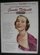 ORIGINAL 1952 MAGAZINE ADVERT FOR GORDON MOORES COSMETIC TOOTHPASTE - Other