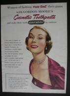 ORIGINAL 1952 MAGAZINE ADVERT FOR GORDON MOORES COSMETIC TOOTHPASTE - Advertising