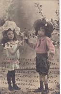 COUPLE D'ENFANTS COLORISE. CIRCULEE 1904 A ESTACION J. MARIA, CORDOBA, ARGENTINE - BLEUP - Scènes & Paysages