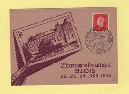 2e Exposition Philatelique - Blois - 1946 - Marianne Dulac - Marcofilia (sobres)