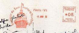 PARIS--1956--EMA  Souvenir Du Sommet De La Tour Eiffel Sur Cpsm 15 X 10  Tour Eiffel--* 08 - Machine N° K 0981 - Marcofilia (sobres)