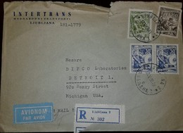 O) 1958 YUGOSLAVIA, FRUITGROWING-METALLURGY-BOOK MANUFACTURE, INTERTRANS, AIRMAIL-REGISTERED TO USA - 1945-1992 Socialist Federal Republic Of Yugoslavia