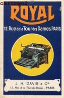 """PUBLICITE MACHINE A ECRIRE """" ROYAL """" RUE DE LA TOUR DES DAMES PARIS STENOGRAPHIE AU DOS - Publicité"""