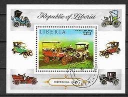 LIBERIA 1973 FOGLIETTO VECCHIE AUTOMOBILI YVERT.BF.67 USATO VF - Liberia