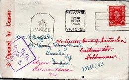 LETTRE AVEC CENSURE 1942 - POSTEE A MELBOURNE - - 1937-52 George VI