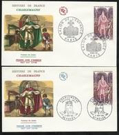 FDC 2 Lettres Illustrées Premier Jour Noyon Et Paris 05/11/1966 N°1497 Charlemagne TB Soldé à Moins De 20% ! ! - FDC