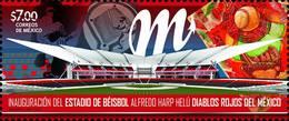 2019 MEXICO BASEBALL SPORT STADIUM DIABLOS ROJOS OAXACA STAMP SET MNH - México
