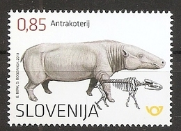 SLOVENIA 2019,FOSSIL MAMMALS OF SLOVENIA-ANTHRACOTHERE,MNH - Fossiles