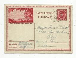 Entier Postal , Belgique, Carte Postale Illustrée , ANGLEUR 1 , 1938 , 3 Scans, Grottes De HAN,  Grotten Van Han - Entiers Postaux
