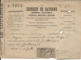 Bayonne 1903 -  Reçu Abonnements Le Courrier De Bayonne Et Timbre Taxe - 1900 – 1949