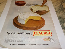 ANCIENNE  PUBLICITE CORSE MOELLEUX  FROMAGE CAMENBERT CLAUDEL 1964 - Afiches