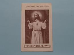 Apostolaat V/h Gebed / Inschrijvingsbewijs 1958 > Baasrode / Waumans ( Bond H. Hart ) ! - Religion & Esotérisme