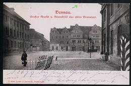 AK/CP Dessau  Markt  Wache   Gel./circ.1907 , Karte Früher   Erhaltung /Cond. 2  , Kleiner Einriss Oben  Nr. 00658 - Dessau