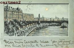LONDON CARTE A SYSTEME HOLD-TO-LIHGT CONTRE LA LUMIERE THAMES EMBANKMENT - London