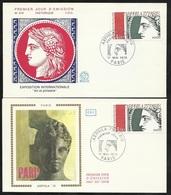 2 FDC Lettres Illustrées Premier Jour Paris 17/05/1975 N°1833 Arphila  Cérès   TB Soldé à Moins De 20% ! ! - 1970-1979